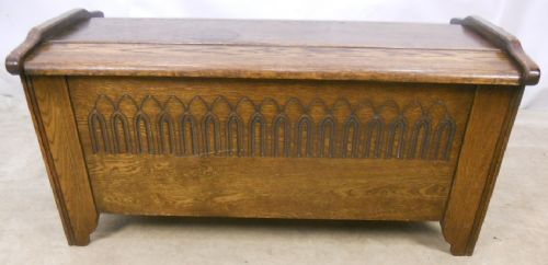 Antique Style Arched Top Oak Blanket Chest - SOLD